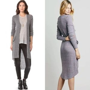 Free People Gray Ribbed Maxi Cardigan Size Small